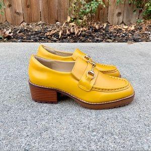 New e8 Miista 5 Mustard Yellow Dana Loafer Heels